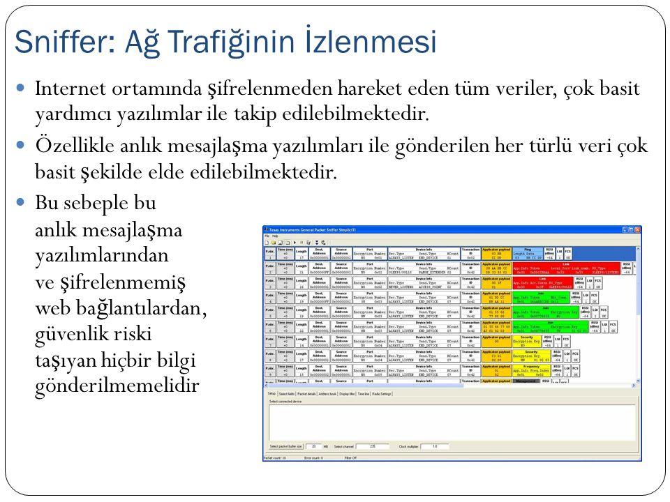  Internet ortamında ş ifrelenmeden hareket eden tüm veriler, çok basit yardımcı yazılımlar ile takip edilebilmektedir.  Özellikle anlık mesajla ş ma