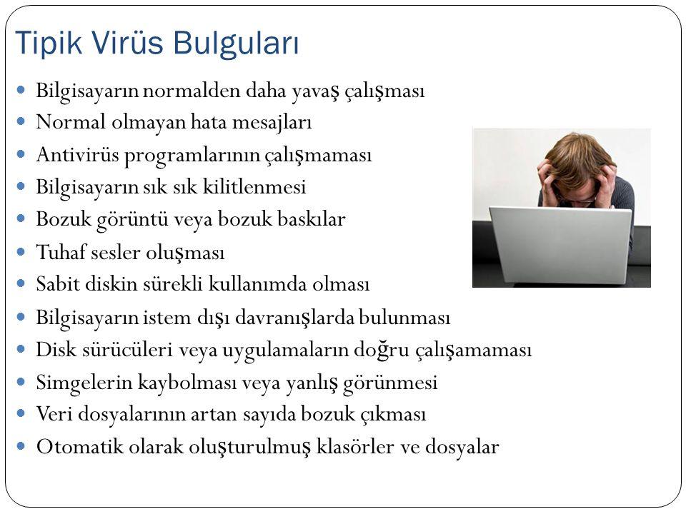  Bilgisayarın normalden daha yava ş çalı ş ması  Normal olmayan hata mesajları  Antivirüs programlarının çalı ş maması  Bilgisayarın sık sık kilit