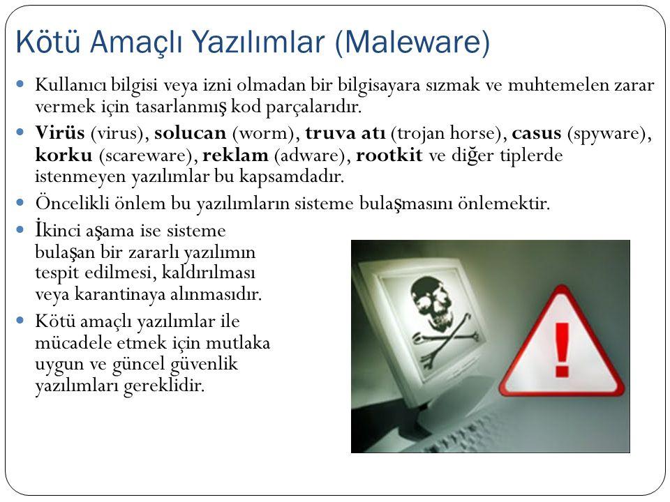  Kullanıcı bilgisi veya izni olmadan bir bilgisayara sızmak ve muhtemelen zarar vermek için tasarlanmı ş kod parçalarıdır.  Virüs (virus), solucan (