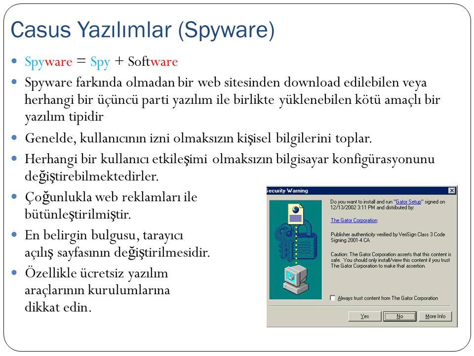  Spyware = Spy + Software  Spyware farkında olmadan bir web sitesinden download edilebilen veya herhangi bir üçüncü parti yazılım ile birlikte yükle