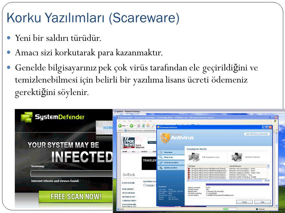  Yeni bir saldırı türüdür.  Amacı sizi korkutarak para kazanmaktır.  Genelde bilgisayarınız pek çok virüs tarafından ele geçirildi ğ ini ve temizle
