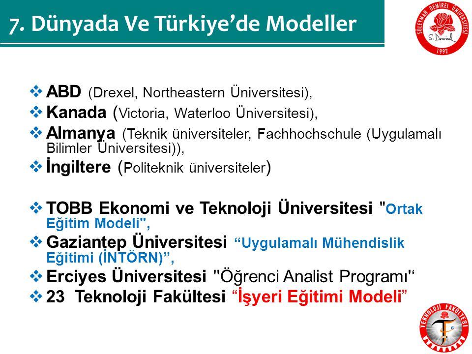  ABD (Drexel, Northeastern Üniversitesi),  Kanada ( Victoria, Waterloo Üniversitesi),  Almanya (Teknik üniversiteler, Fachhochschule (Uygulamalı Bilimler Üniversitesi)),  İngiltere ( Politeknik üniversiteler )  TOBB Ekonomi ve Teknoloji Üniversitesi Ortak Eğitim Modeli ,  Gaziantep Üniversitesi Uygulamalı Mühendislik Eğitimi (İNTÖRN) ,  Erciyes Üniversitesi Öğrenci Analist Programı '  23 Teknoloji Fakültesi İşyeri Eğitimi Modeli 7.