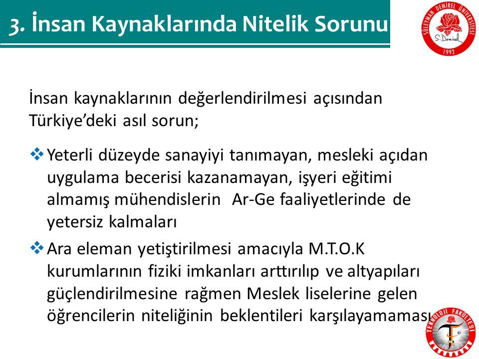 İnsan kaynaklarının değerlendirilmesi açısından Türkiye'deki asıl sorun;  Yeterli düzeyde sanayiyi tanımayan, mesleki açıdan uygulama becerisi kazanamayan, işyeri eğitimi almamış mühendislerin Ar-Ge faaliyetlerinde de yetersiz kalmaları  Ara eleman yetiştirilmesi amacıyla M.T.O.K kurumlarının fiziki imkanları arttırılıp ve altyapıları güçlendirilmesine rağmen Meslek liselerine gelen öğrencilerin niteliğinin beklentileri karşılayamaması 3.