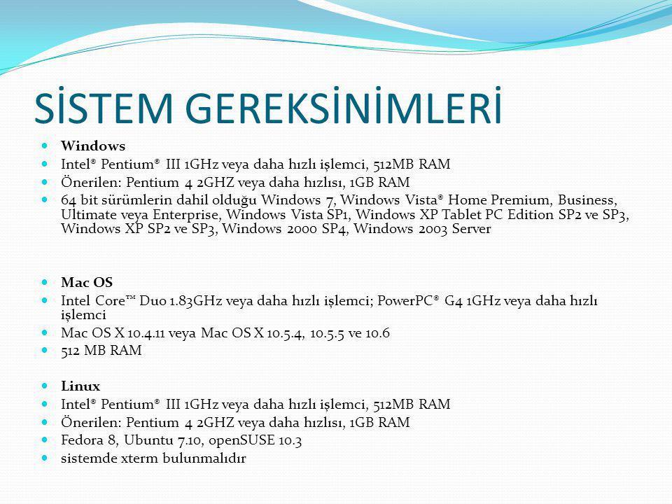 SİSTEM GEREKSİNİMLERİ  Windows  Intel® Pentium® III 1GHz veya daha hızlı işlemci, 512MB RAM  Önerilen: Pentium 4 2GHZ veya daha hızlısı, 1GB RAM 