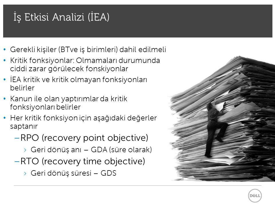 Recovery Point Objective (RPO) Geri Dönüş Anı (GDA) – (süre olarak) GDA : zaman olarak gösterilen kabul edilebilir veri kaybı – organizasyon tarafından belirlenmiş bu kadar zaman geride olan verinin geri yüklenebilmesi ÇalıştırmaGeri Yükleme Düzeltme Yedekleme GDAGDS + Felaket