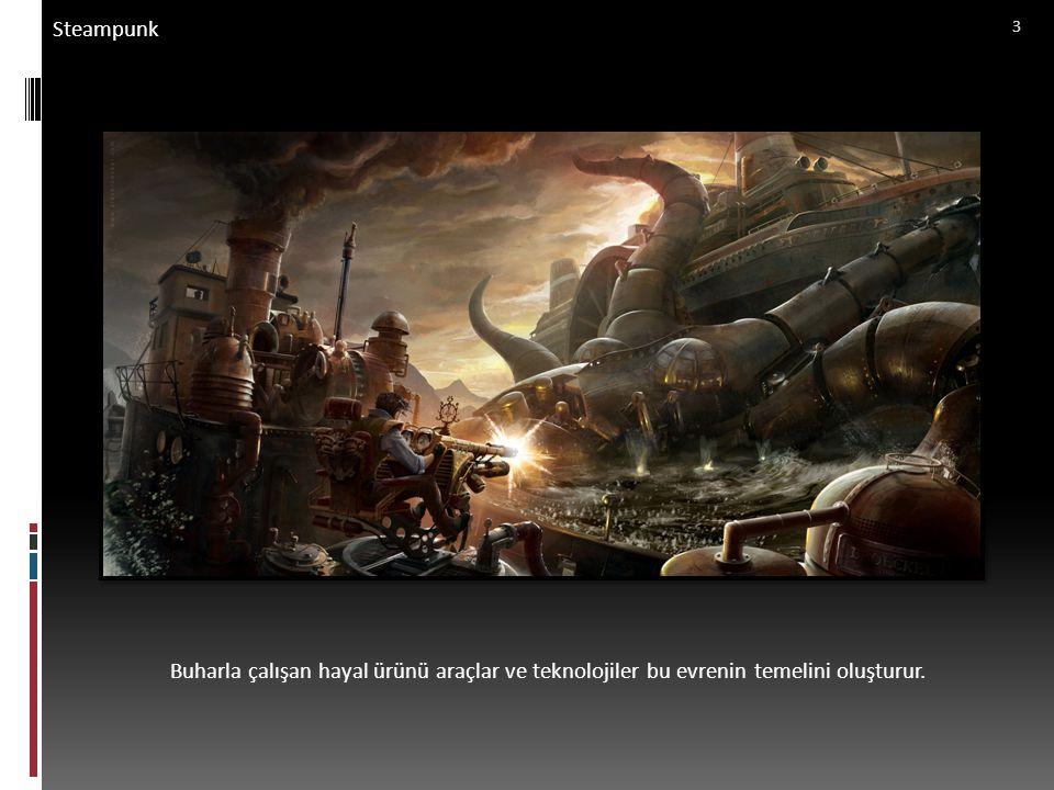 Steampunk Dumalar ve sisler arasında yükselen bir zeplin steampunk evrenine gönderme yapıyor. 14