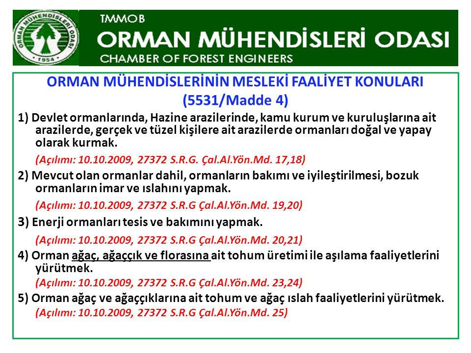 Orman Mühendisi ve Orman Yüksek Mühendislerine Yönelik Mesleki Konuların açılımları bu Yönetmeliğin 4.