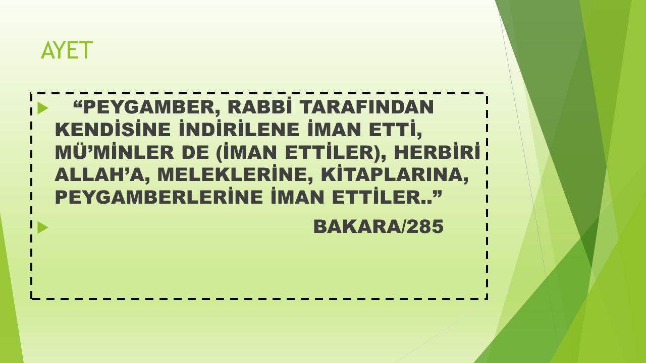 """AYET  """"PEYGAMBER, RABBİ TARAFINDAN KENDİSİNE İNDİRİLENE İMAN ETTİ, MÜ'MİNLER DE (İMAN ETTİLER), HERBİRİ ALLAH'A, MELEKLERİNE, KİTAPLARINA, PEYGAMBERL"""
