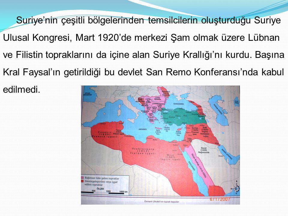 b- Fransa ve Orta Doğu Osmanlı Devleti'nin yıkılmasıyla Orta Doğu'da söz sahibi olmak isteyen devletlerden birisi de Fransa'ydı. San Remo Konferansı'n