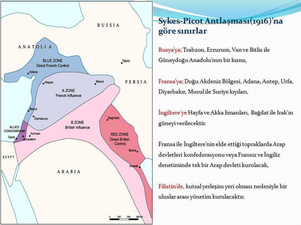 I.Dünya Savaşı devam ederken İngiltere, Fransa ve Rusya aralarında yaptıkları gizli antlaşmalarla Orta Doğu'yu paylaştılar.