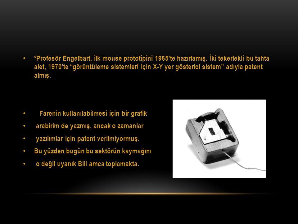 """• *Profesör Engelbart, ilk mouse prototipini 1965′te hazırlamış. İki tekerlekli bu tahta alet, 1970′te """"görüntüleme sistemleri için X-Y yer gösterici"""