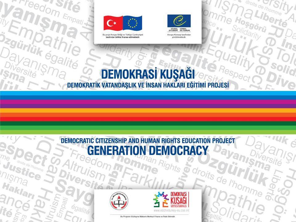 Programın Genel Amaçları Ortaöğretim Demokrasi ve İnsan Hakları dersini başarıyla tamamlayan bir öğrenci; 5.Yaşamın her alanında barış ve uzlaşma kültürünün oluşması ve gelişmesine katkı sağlayarak çatışmalara barışçıl çözümler arar.