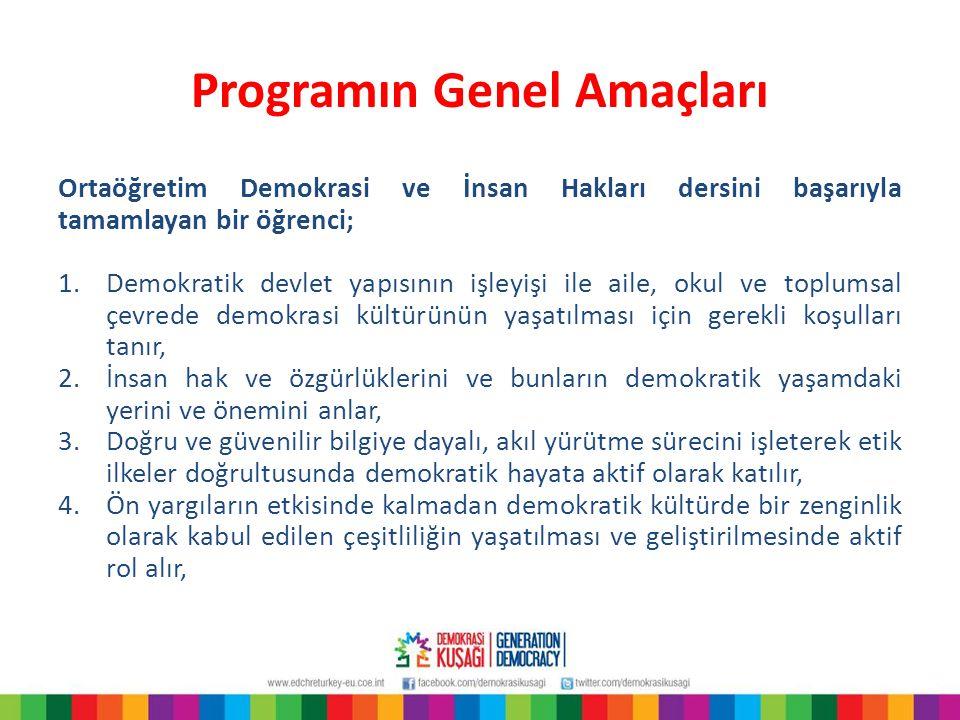Programın Genel Amaçları Ortaöğretim Demokrasi ve İnsan Hakları dersini başarıyla tamamlayan bir öğrenci; 1.Demokratik devlet yapısının işleyişi ile a