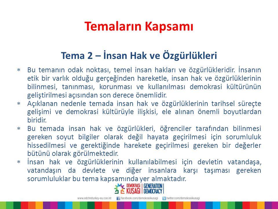 Temaların Kapsamı Tema 2 – İnsan Hak ve Özgürlükleri  Bu temanın odak noktası, temel insan hakları ve özgürlükleridir. İnsanın etik bir varlık olduğu