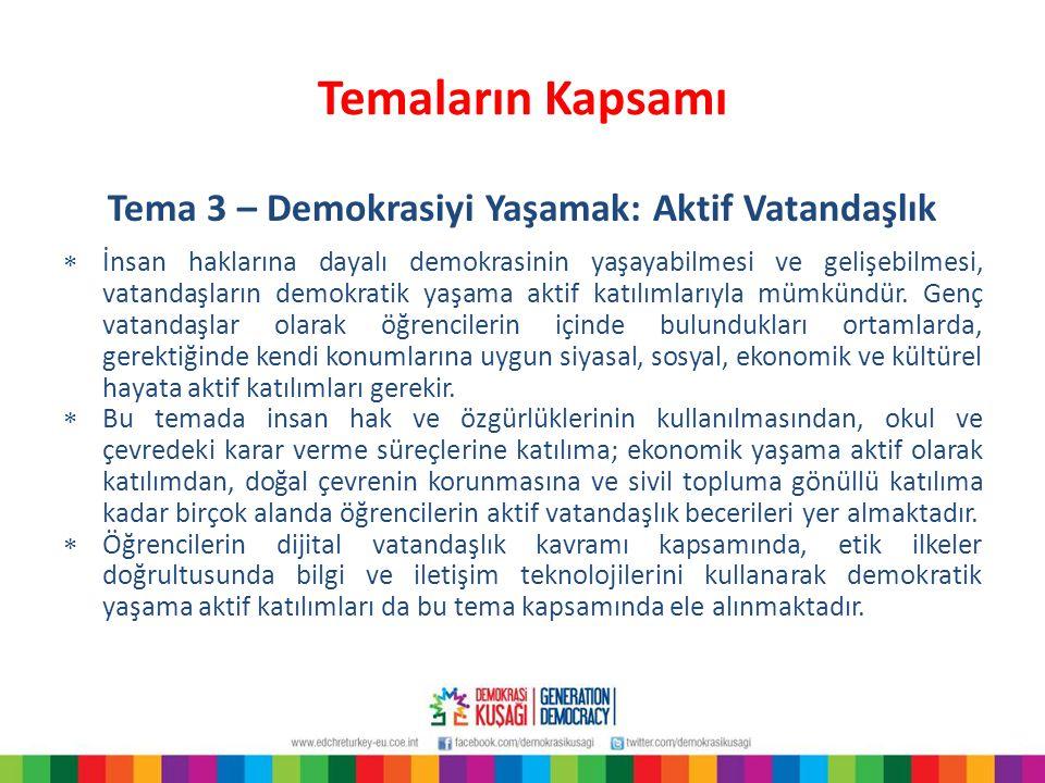 Temaların Kapsamı Tema 3 – Demokrasiyi Yaşamak: Aktif Vatandaşlık  İnsan haklarına dayalı demokrasinin yaşayabilmesi ve gelişebilmesi, vatandaşların
