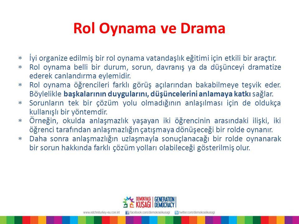 Rol Oynama ve Drama  İyi organize edilmiş bir rol oynama vatandaşlık eğitimi için etkili bir araçtır.  Rol oynama belli bir durum, sorun, davranış y