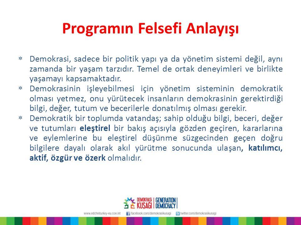 Programın Felsefi Anlayışı  Genelde eğitim, özelde okul, demokrasi kültürünün gelişmesine birçok açıdan katkı sunabilir.