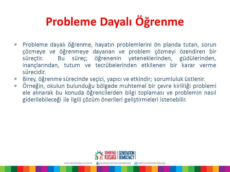 Probleme Dayalı Öğrenme  Probleme dayalı öğrenme, hayatın problemlerini ön planda tutan, sorun çözmeye ve öğrenmeye dayanan ve problem çözmeyi özendi