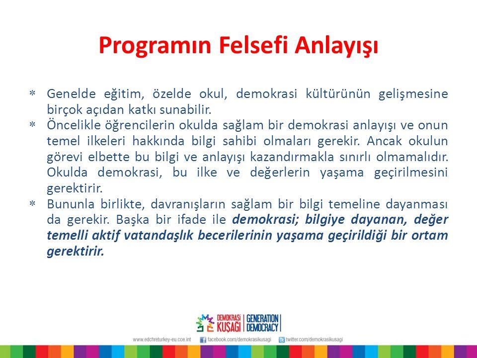 Programın Felsefi Anlayışı  Genelde eğitim, özelde okul, demokrasi kültürünün gelişmesine birçok açıdan katkı sunabilir.  Öncelikle öğrencilerin oku