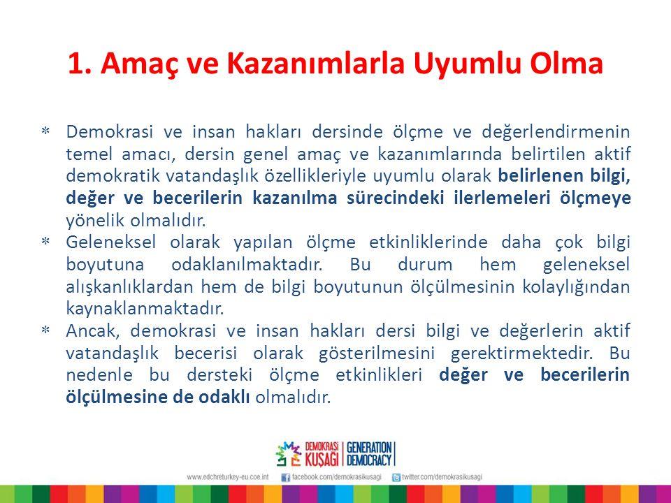 1. Amaç ve Kazanımlarla Uyumlu Olma  Demokrasi ve insan hakları dersinde ölçme ve değerlendirmenin temel amacı, dersin genel amaç ve kazanımlarında b