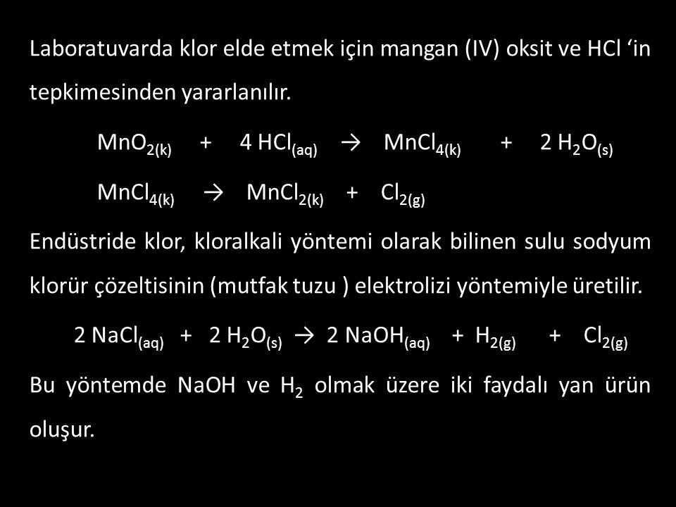 Laboratuvarda klor elde etmek için mangan (IV) oksit ve HCl 'in tepkimesinden yararlanılır. MnO 2(k) + 4 HCl (aq) → MnCl 4(k) + 2 H 2 O (s) MnCl 4(k)