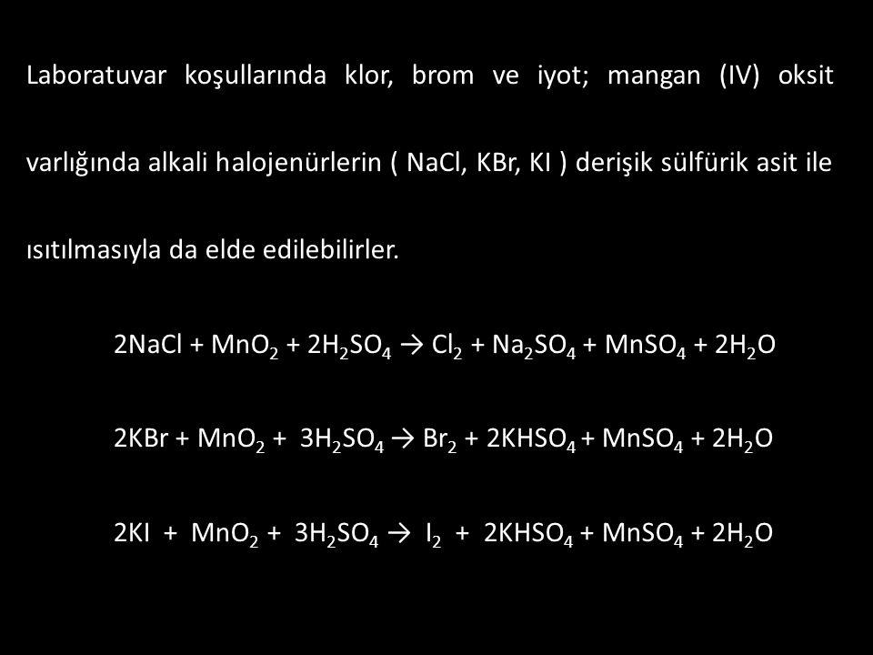 Laboratuvar koşullarında klor, brom ve iyot; mangan (IV) oksit varlığında alkali halojenürlerin ( NaCl, KBr, KI ) derişik sülfürik asit ile ısıtılması