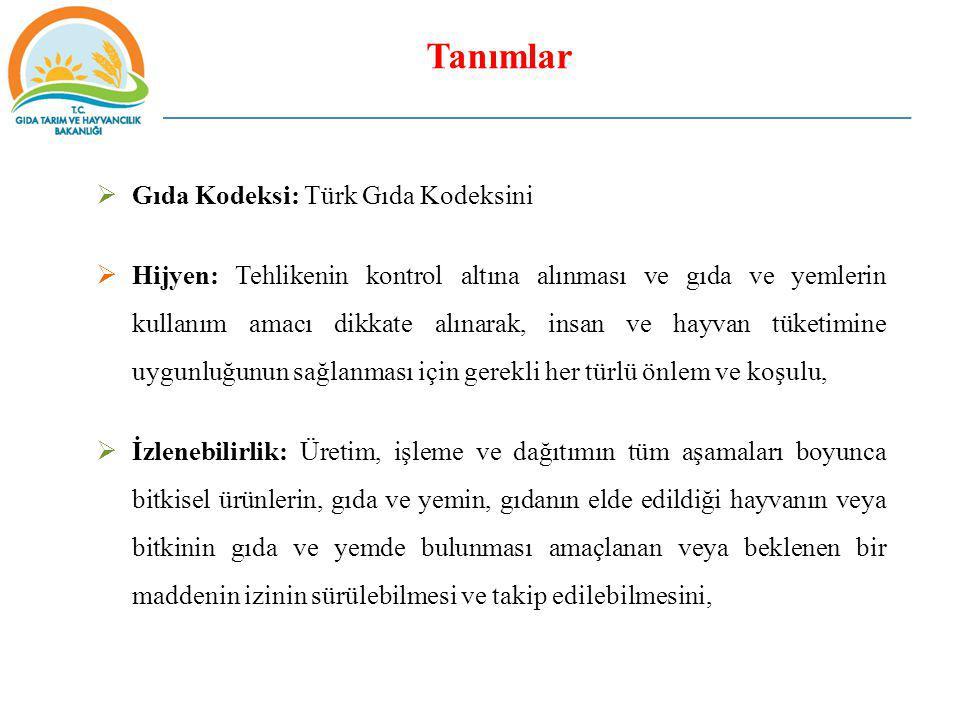 Tanımlar  Gıda Kodeksi: Türk Gıda Kodeksini  Hijyen: Tehlikenin kontrol altına alınması ve gıda ve yemlerin kullanım amacı dikkate alınarak, insan v