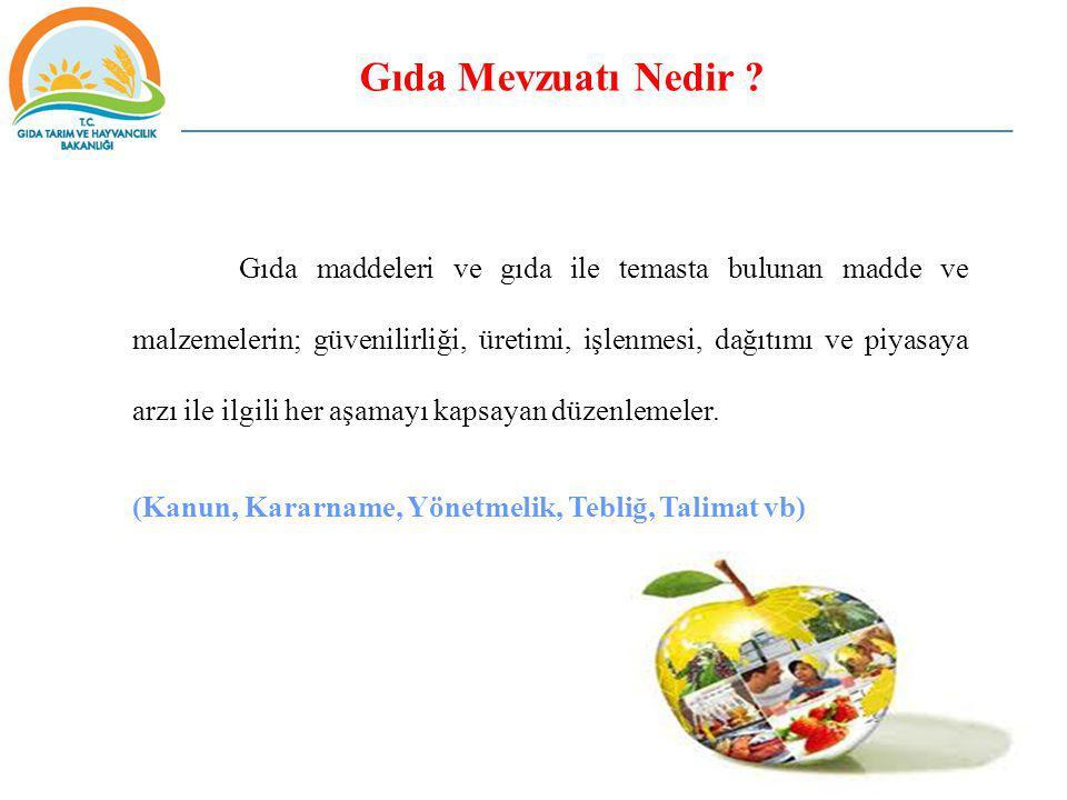 Gıda Mevzuatı Nedir ? Gıda maddeleri ve gıda ile temasta bulunan madde ve malzemelerin; güvenilirliği, üretimi, işlenmesi, dağıtımı ve piyasaya arzı i