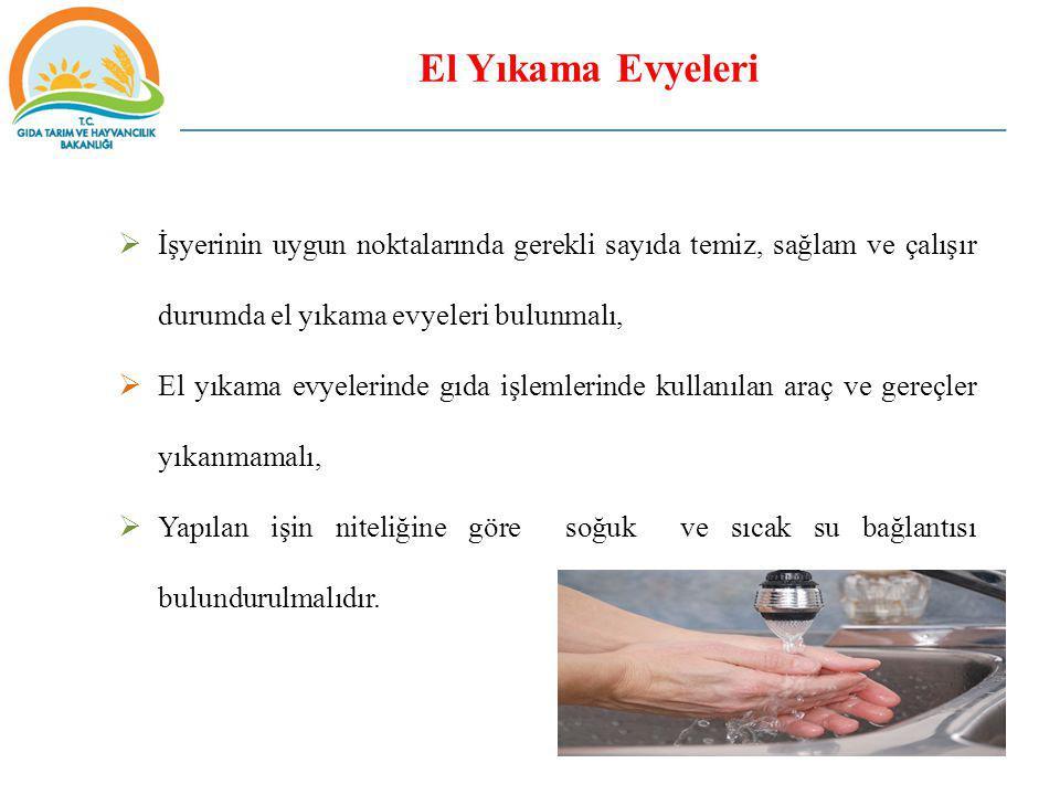  İşyerinin uygun noktalarında gerekli sayıda temiz, sağlam ve çalışır durumda el yıkama evyeleri bulunmalı,  El yıkama evyelerinde gıda işlemlerinde