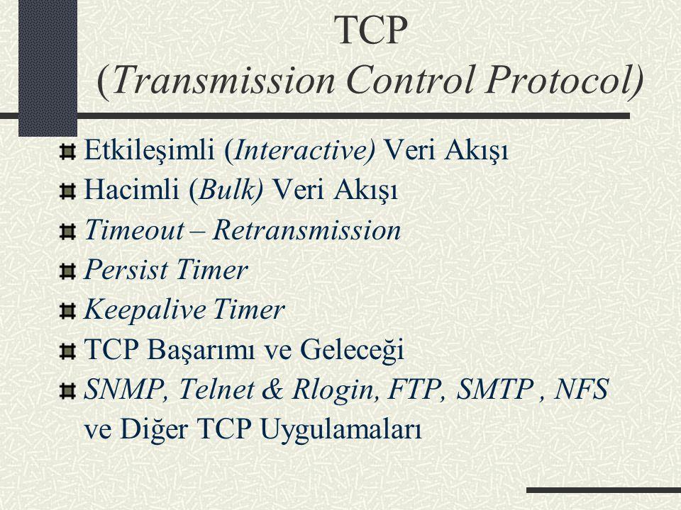 TCP (Transmission Control Protocol) Etkileşimli (Interactive) Veri Akışı Hacimli (Bulk) Veri Akışı Timeout – Retransmission Persist Timer Keepalive Ti