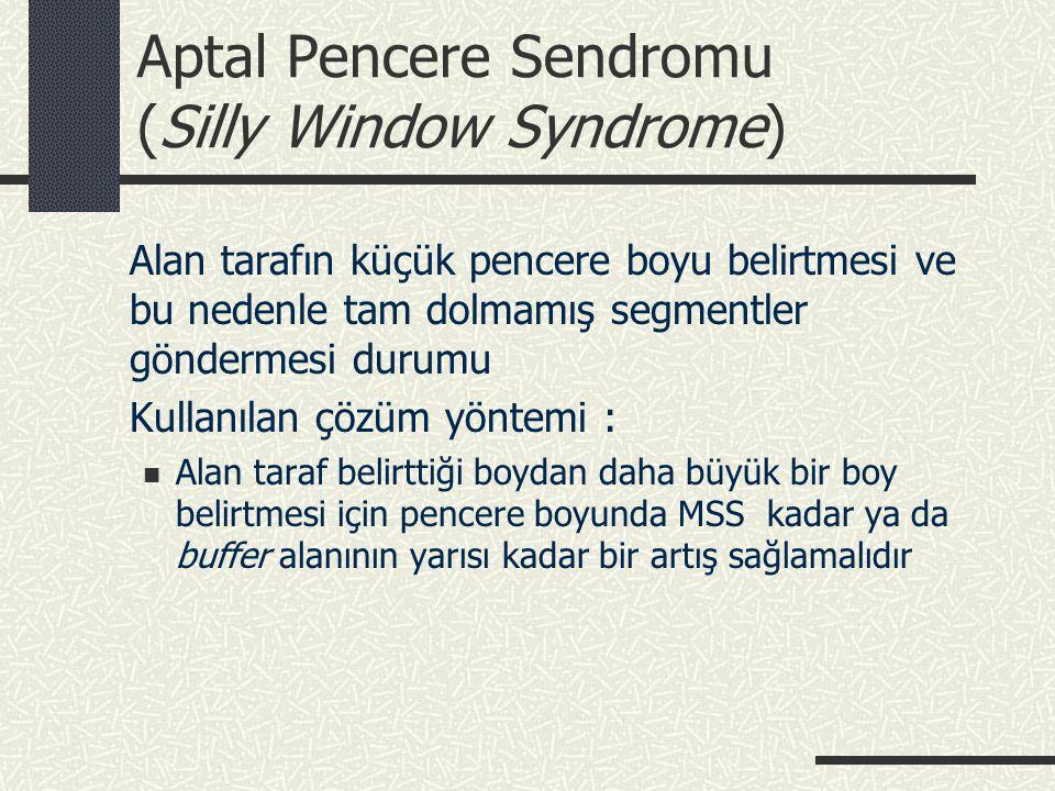 Aptal Pencere Sendromu (Silly Window Syndrome) Alan tarafın küçük pencere boyu belirtmesi ve bu nedenle tam dolmamış segmentler göndermesi durumu Kull
