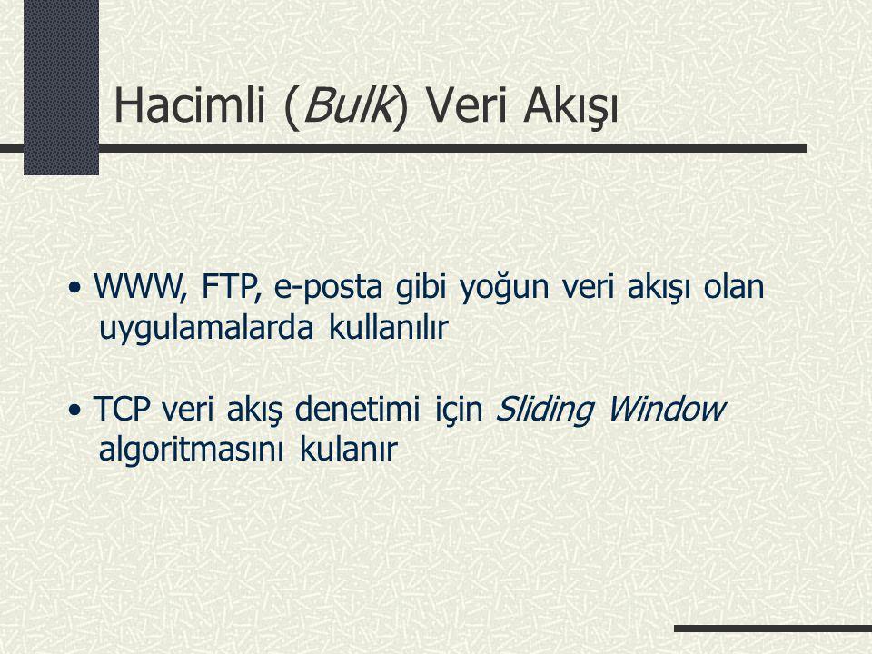 Hacimli (Bulk) Veri Akışı • WWW, FTP, e-posta gibi yoğun veri akışı olan uygulamalarda kullanılır • TCP veri akış denetimi için Sliding Window algorit