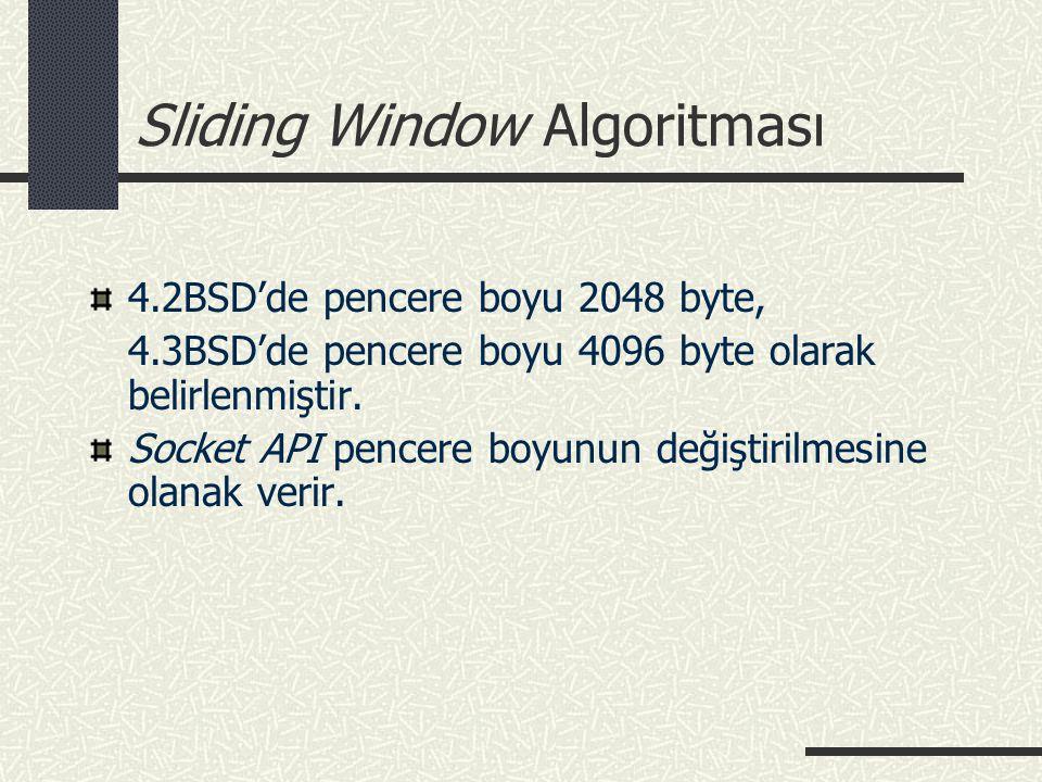 Sliding Window Algoritması 4.2BSD'de pencere boyu 2048 byte, 4.3BSD'de pencere boyu 4096 byte olarak belirlenmiştir. Socket API pencere boyunun değişt