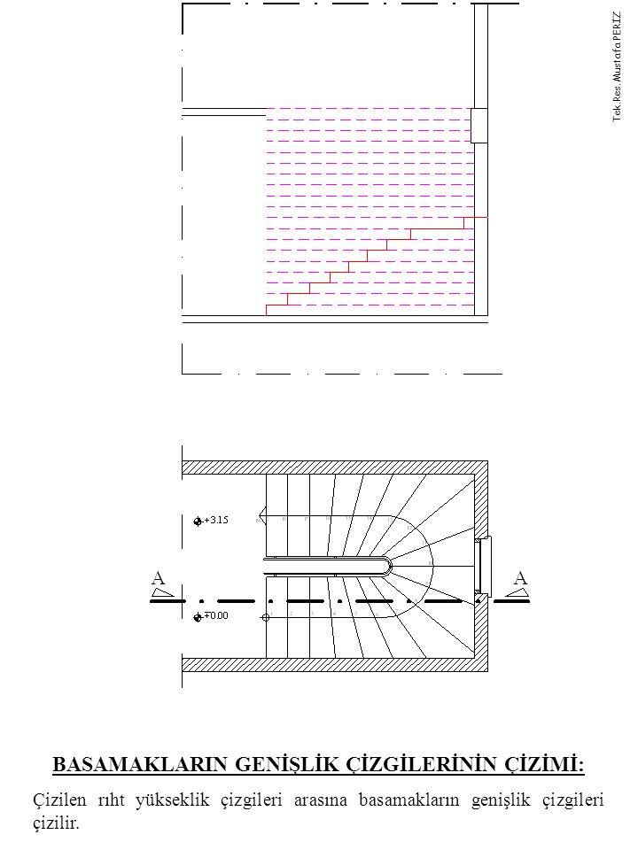 BASAMAKLARIN GENİŞLİK ÇİZGİLERİNİN ÇİZİMİ: Çizilen rıht yükseklik çizgileri arasına basamakların genişlik çizgileri çizilir.