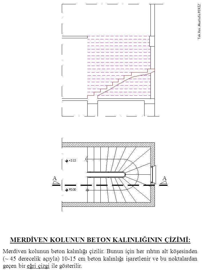 MERDİVEN KOLUNUN BETON KALINLIĞININ ÇİZİMİ: Merdiven kolunun beton kalınlığı çizilir. Bunun için her rıhtın alt köşesinden (~ 45 derecelik açıyla) 10-