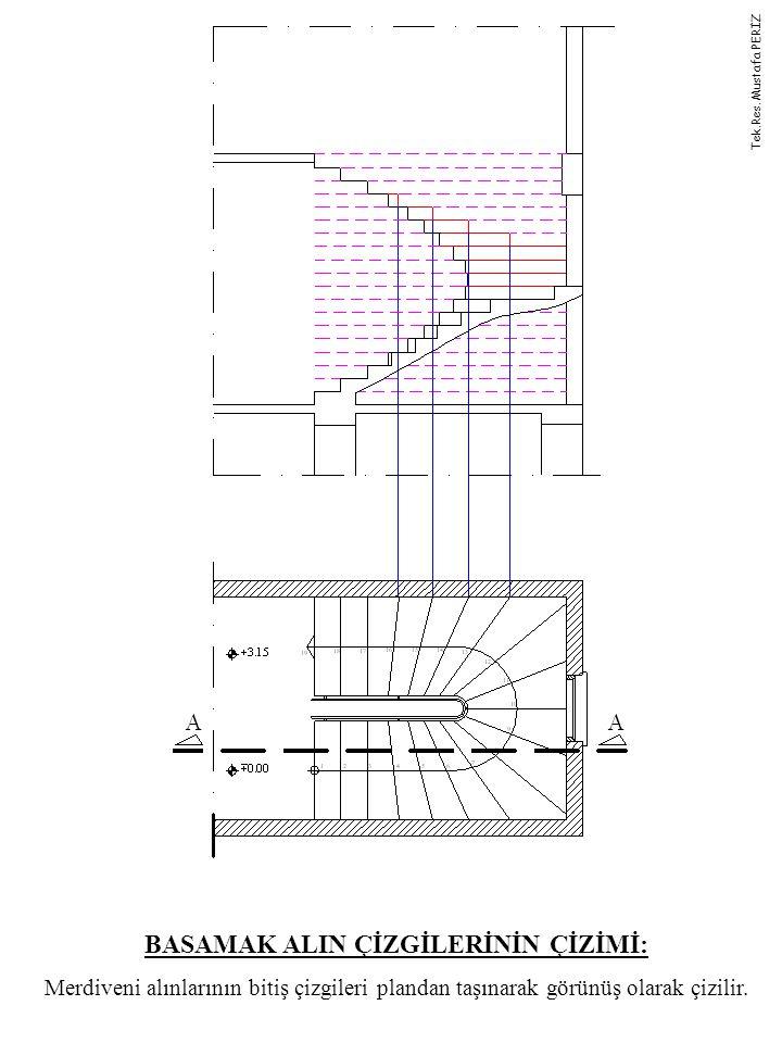 BASAMAK ALIN ÇİZGİLERİNİN ÇİZİMİ: Merdiveni alınlarının bitiş çizgileri plandan taşınarak görünüş olarak çizilir. Tek.Res. Mustafa PERİZ