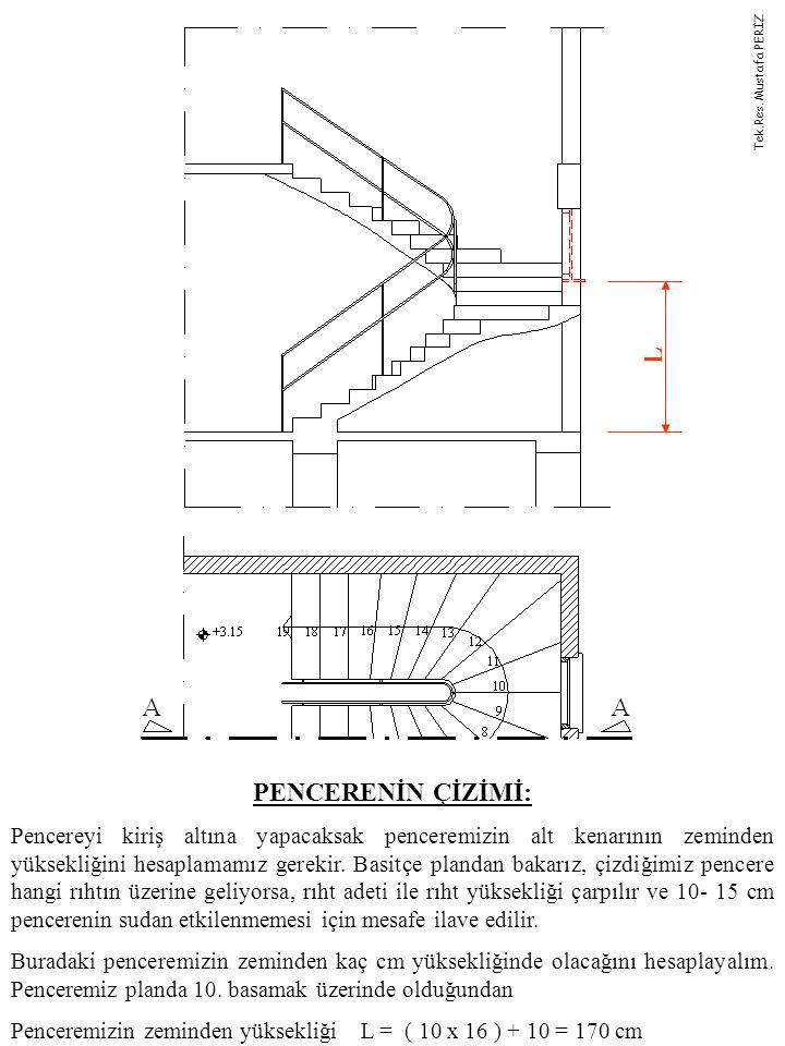 PENCERENİN ÇİZİMİ: Pencereyi kiriş altına yapacaksak penceremizin alt kenarının zeminden yüksekliğini hesaplamamız gerekir.