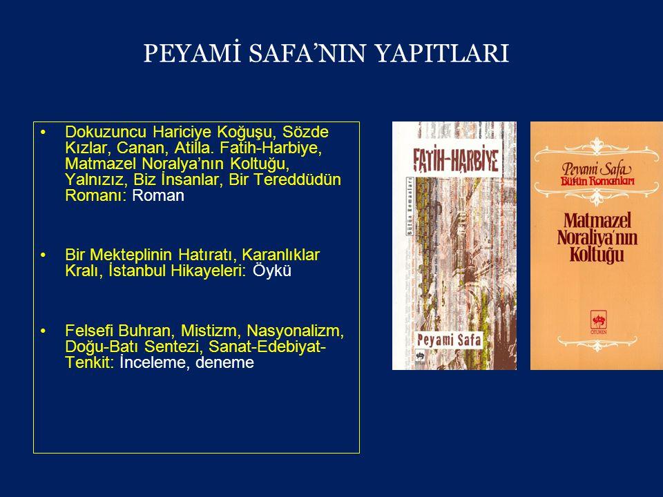 PEYAMİ SAFA'NIN YAPITLARI •Dokuzuncu Hariciye Koğuşu, Sözde Kızlar, Canan, Atilla.