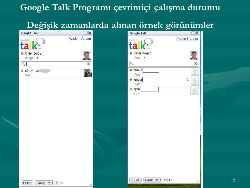 2 Google Talk Programı çevrimiçi çalışma durumu Değişik zamanlarda alınan örnek görünümler
