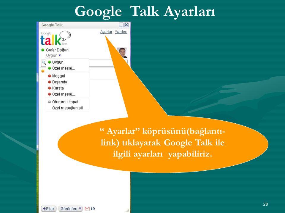 """28 """" Ayarlar"""" köprüsünü(bağlantı- link) tıklayarak Google Talk ile ilgili ayarları yapabiliriz. Google Talk Ayarları"""