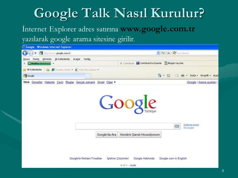 3 Google Talk Nasıl Kurulur? İnternet Explorer adres satırına www.google.com.tr yazılarak google arama sitesine girilir.