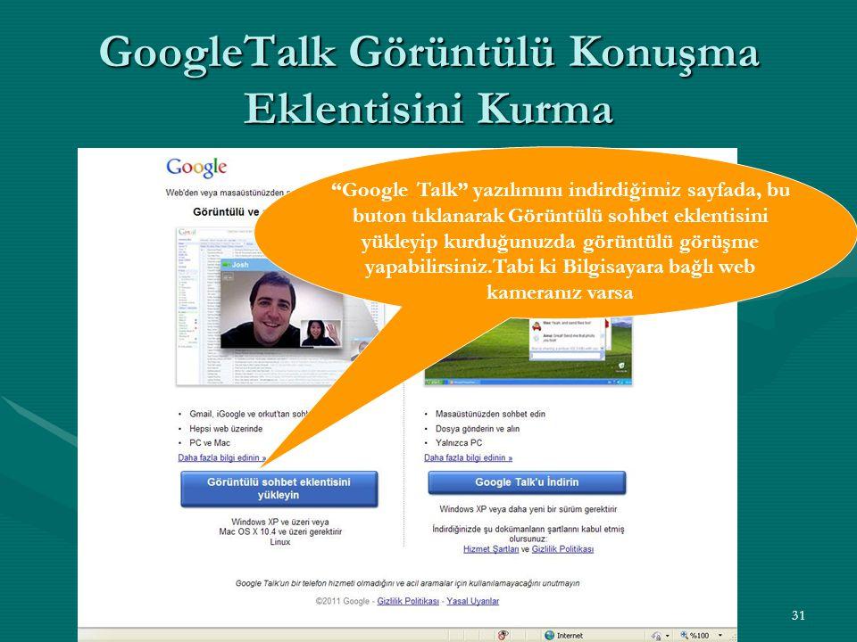 """31 GoogleTalk Görüntülü Konuşma Eklentisini Kurma """"Google Talk"""" yazılımını indirdiğimiz sayfada, bu buton tıklanarak Görüntülü sohbet eklentisini yükl"""