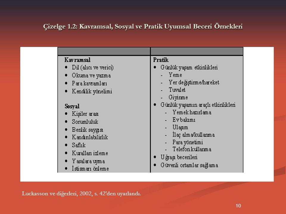 10 Çizelge 1.2: Kavramsal, Sosyal ve Pratik Uyumsal Beceri Örnekleri Luckasson ve diğerleri, 2002, s. 42'den uyarlandı.