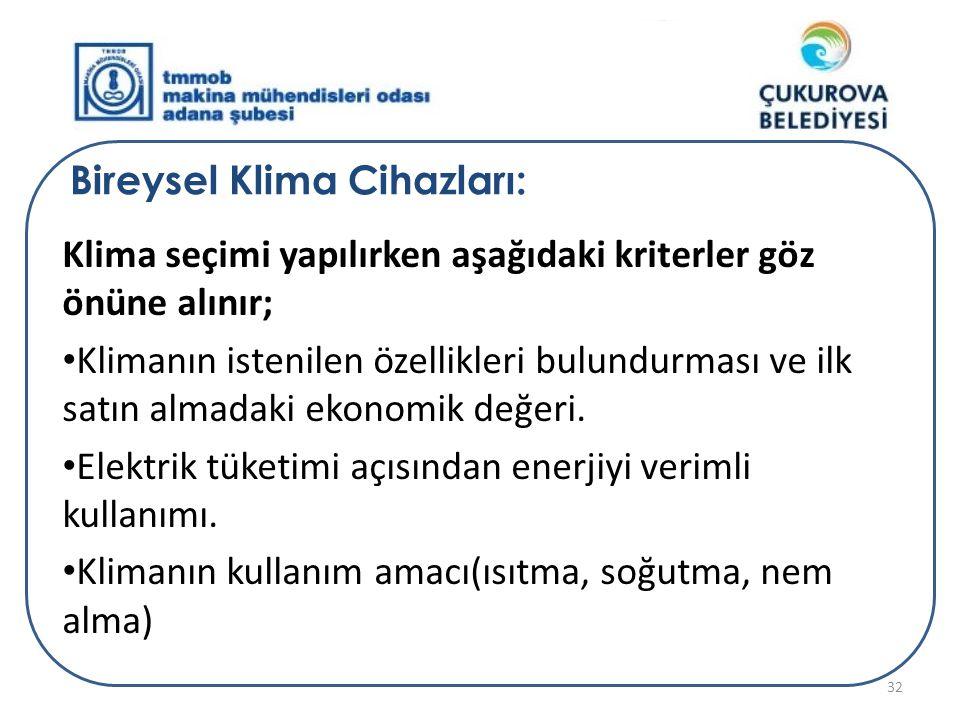 Bireysel Klima Cihazları: Klima seçimi yapılırken aşağıdaki kriterler göz önüne alınır; • Klimanın istenilen özellikleri bulundurması ve ilk satın alm