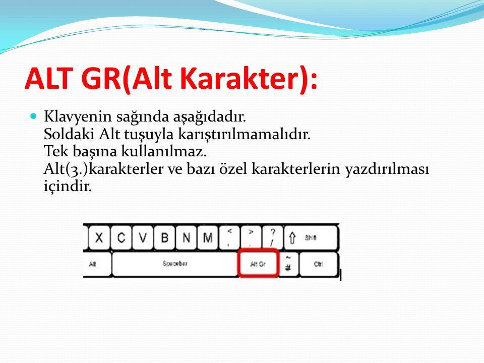 ALT GR(Alt Karakter):  Klavyenin sağında aşağıdadır. Soldaki Alt tuşuyla karıştırılmamalıdır. Tek başına kullanılmaz. Alt(3.)karakterler ve bazı özel