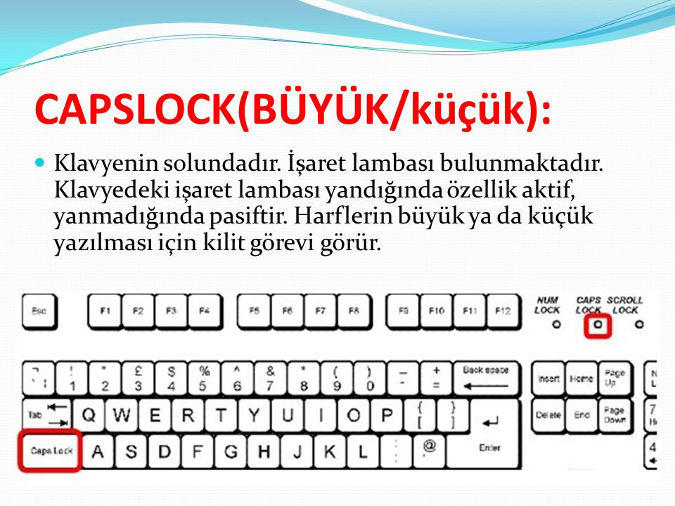 CAPSLOCK(BÜYÜK/küçük):  Klavyenin solundadır. İşaret lambası bulunmaktadır. Klavyedeki işaret lambası yandığında özellik aktif, yanmadığında pasiftir