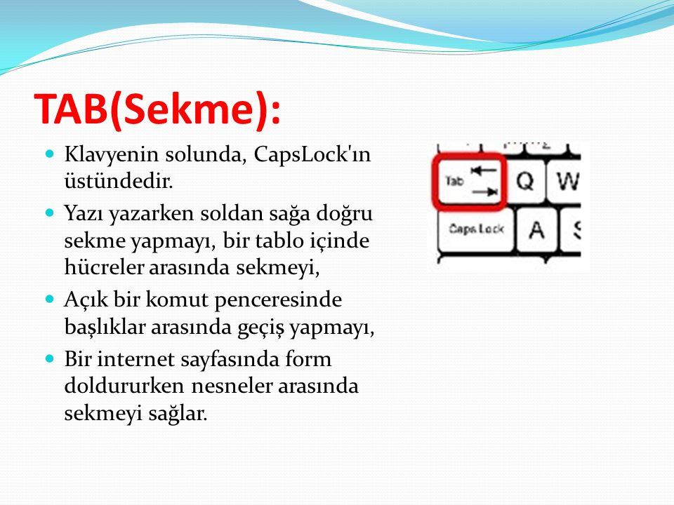 TAB(Sekme):  Klavyenin solunda, CapsLock'ın üstündedir.  Yazı yazarken soldan sağa doğru sekme yapmayı, bir tablo içinde hücreler arasında sekmeyi,
