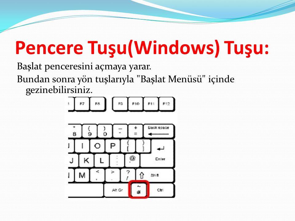 Pencere Tuşu(Windows) Tuşu: Başlat penceresini açmaya yarar. Bundan sonra yön tuşlarıyla