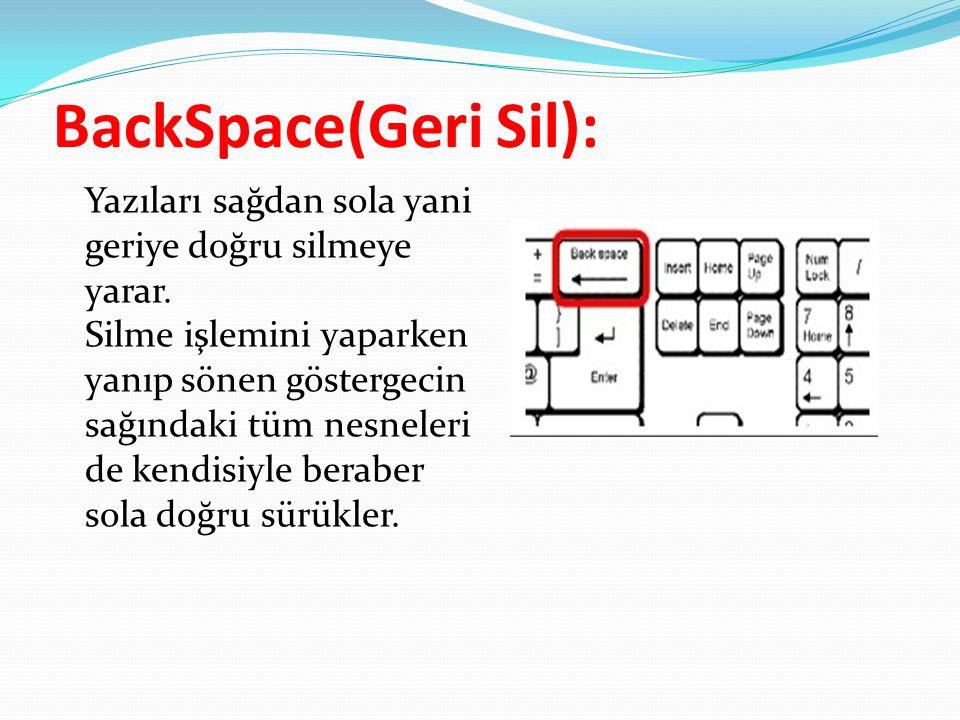 BackSpace(Geri Sil): Yazıları sağdan sola yani geriye doğru silmeye yarar. Silme işlemini yaparken yanıp sönen göstergecin sağındaki tüm nesneleri de