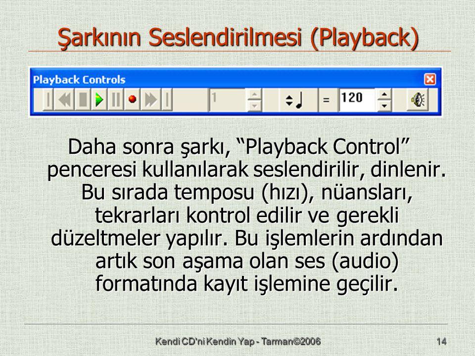 Kendi CD ni Kendin Yap - Tarman©200614 Şarkının Seslendirilmesi (Playback) Daha sonra şarkı, Playback Control penceresi kullanılarak seslendirilir, dinlenir.